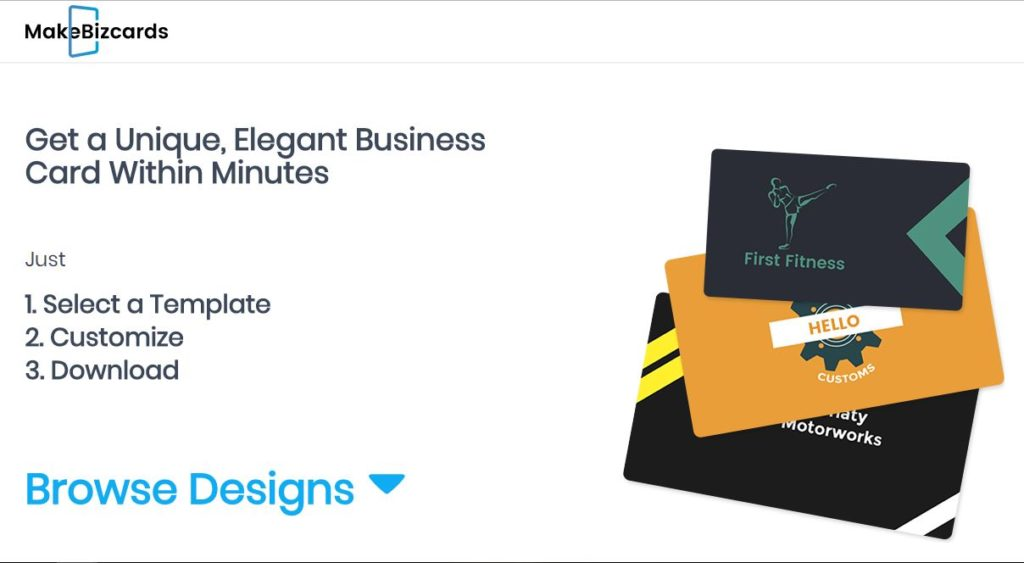 MakeBizCards – Unique and elegant business card within minutes